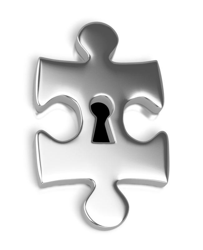 Clipart - Silver Puzzle Piece Key Hole