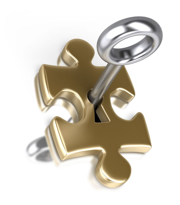 Clipart - Gold Puzzle Piece Silver Key Insert