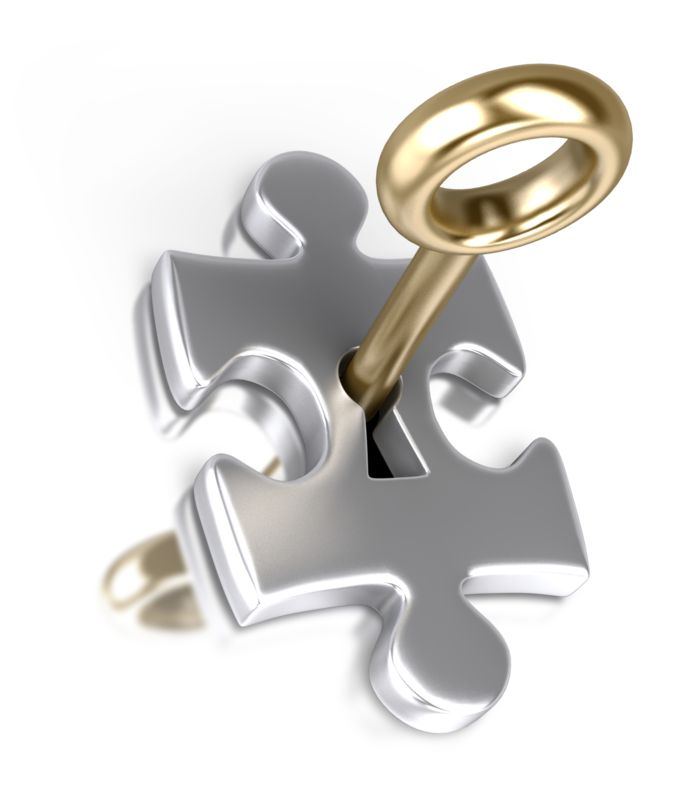 Clipart - Silver Puzzle Piece Gold Key Insert