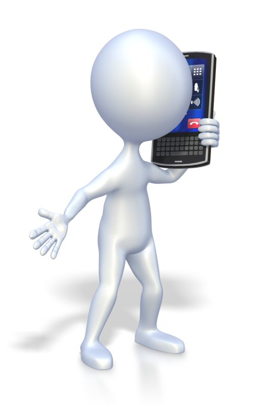 Clipart - Stick Figure Cell Phone