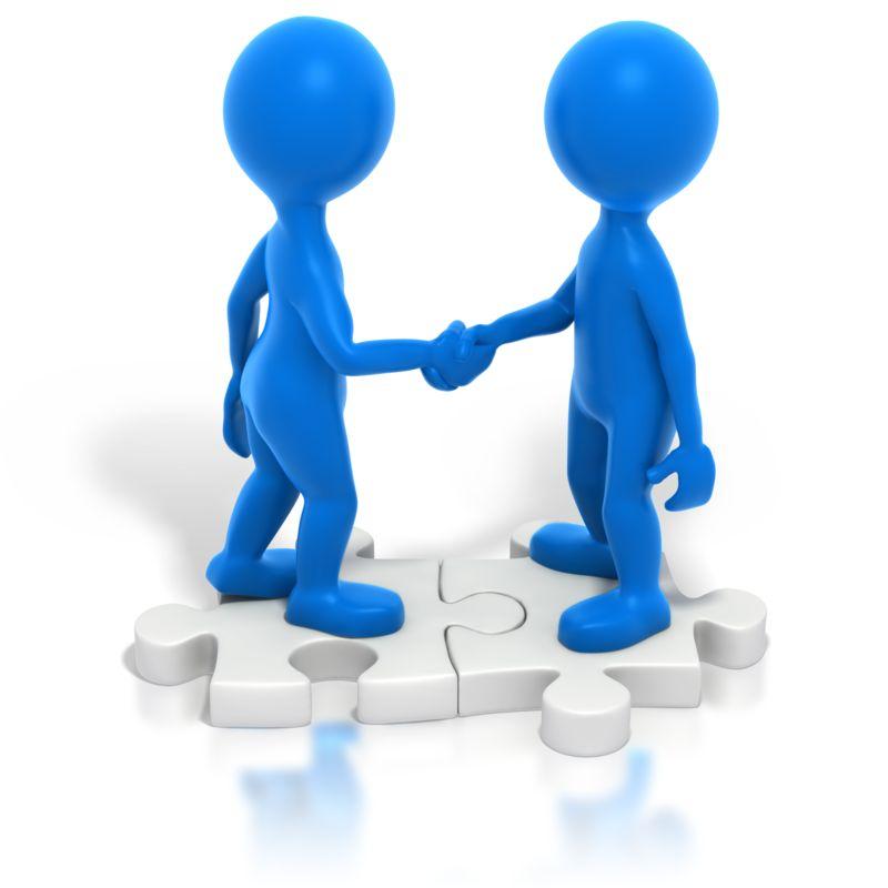 Clipart - Two Blue Stickmen Handshake Puzzle