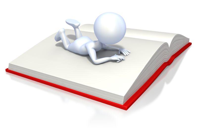 Clipart - Stick Figure Reading Book