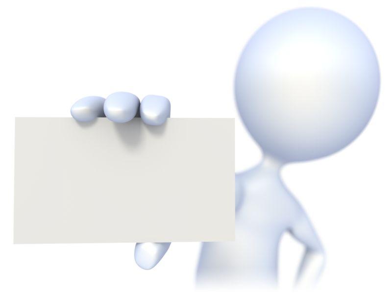 Clipart - 3D Figure Holding a Business Card