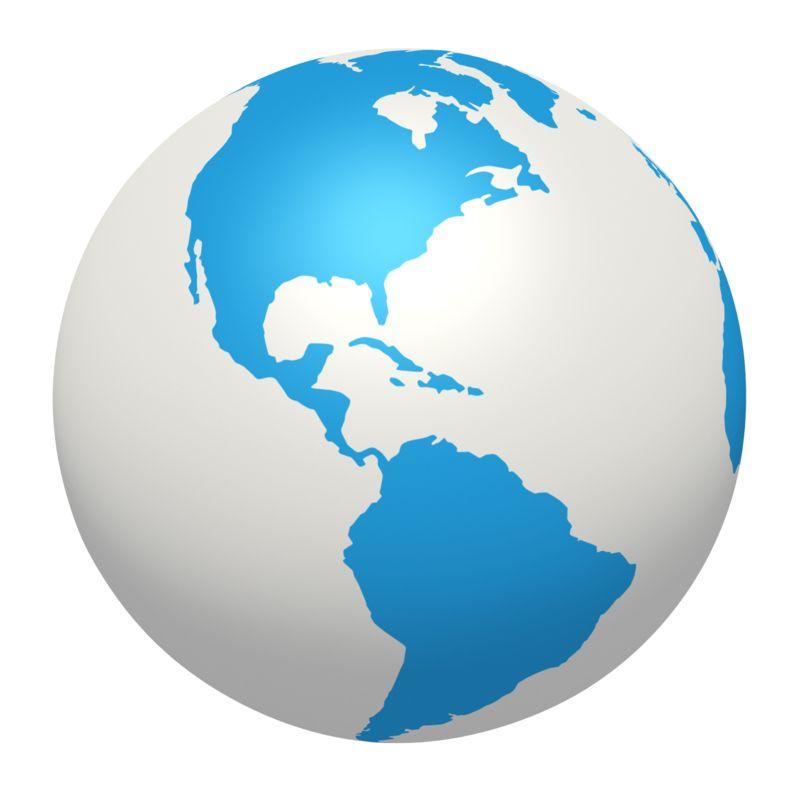 Clipart - Blue White Earth North South America