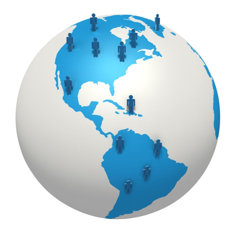 Clipart - Global Stick Figure North South America