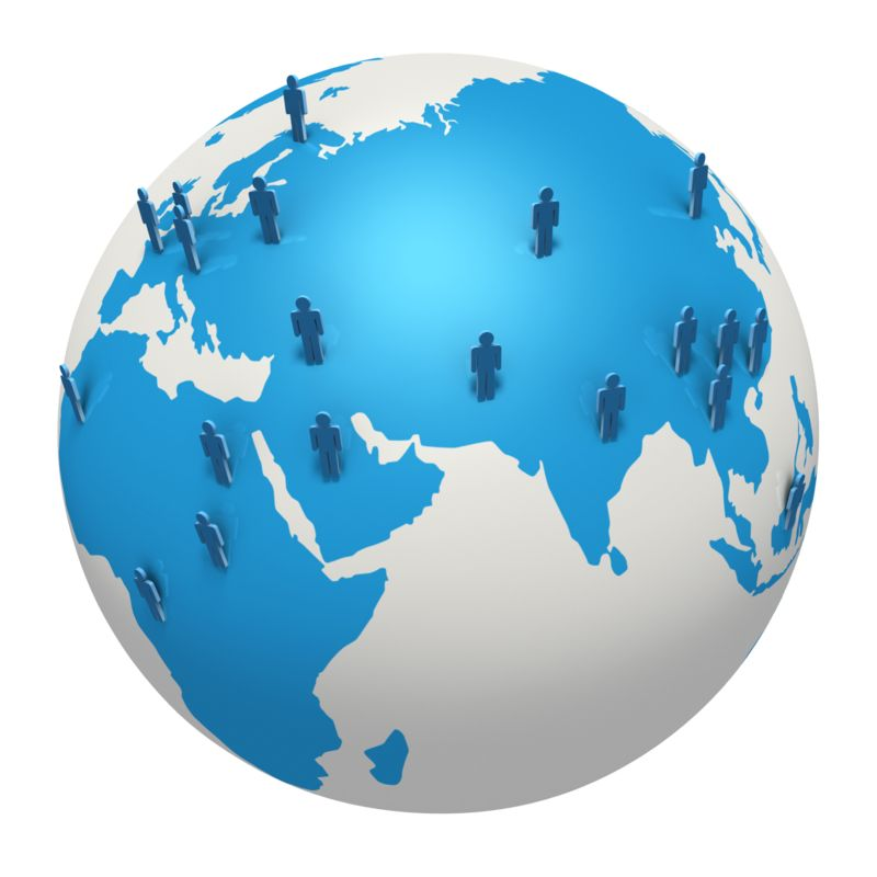 Clipart - Global Stick Figure Europe Africa Asia