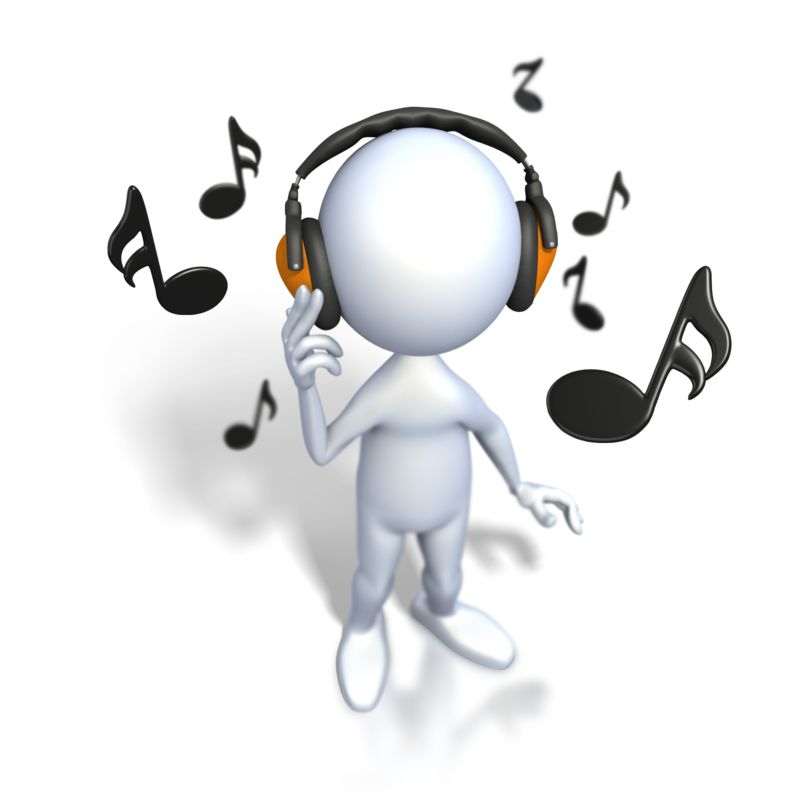 Clipart - Stick Figure Listening To Music
