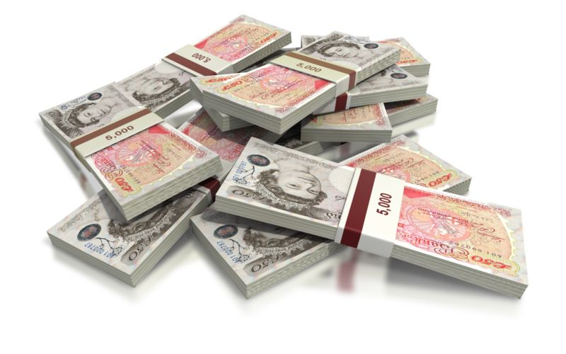 Clipart - British Pounds Fifty Note Pile