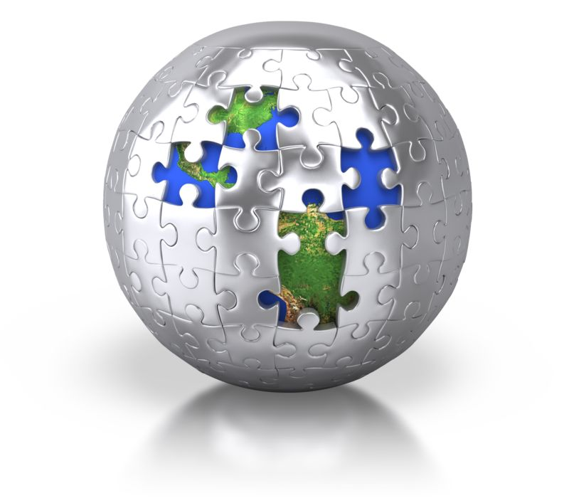 Clipart - Silver Puzzle Pieces Revealing Earth