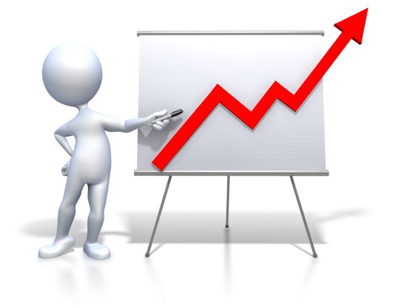 Clipart - Stick Figure Presenting Graph Increase