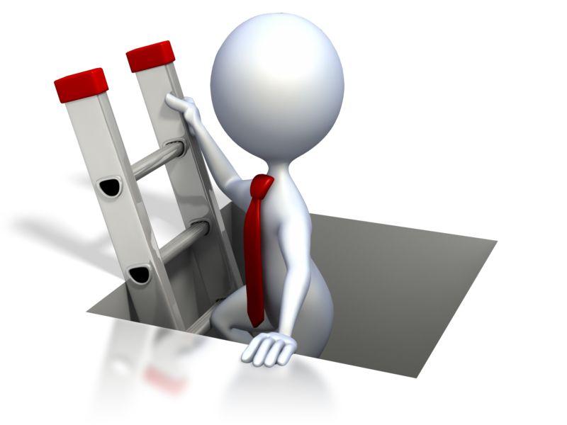 Clipart - Stick Figure Climbing The Corporate Ladd