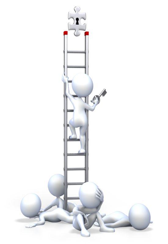 Clipart - Stick Figure Top Leader On Ladder