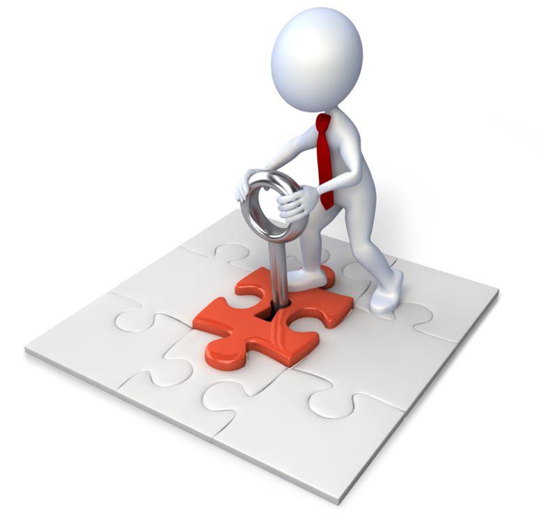 Clipart - Square Puzzle With Stick Figure