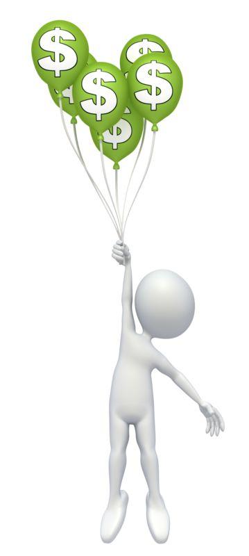 Clipart - Stick Figure Money Balloons
