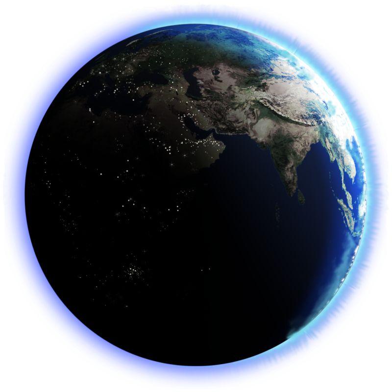 Clipart - Earth Dark Side City Lights