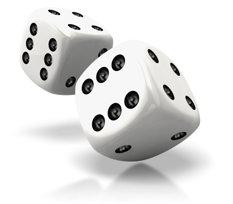 Clipart - Pair Of White Dice Rolled