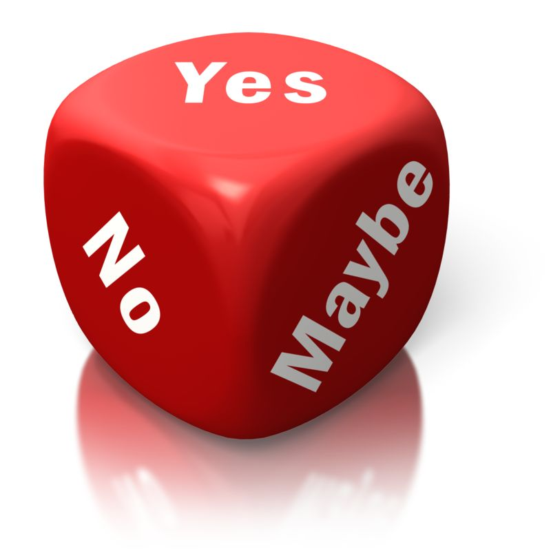 Clipart - Yes No Maybe Red Dice