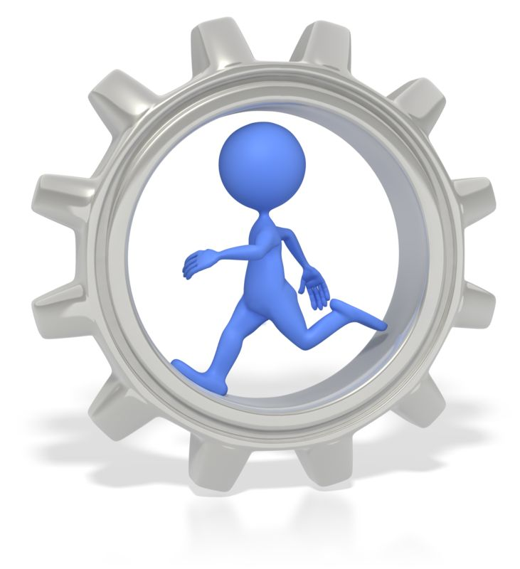 Clipart - Stick Figure Running In Gear