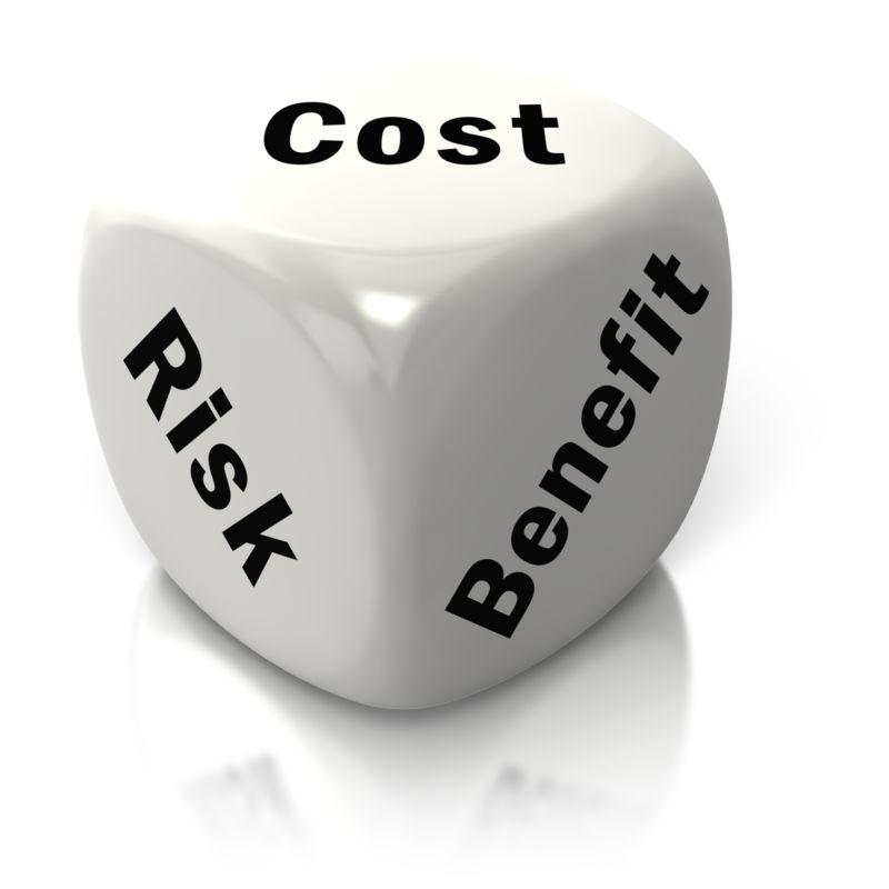 Clipart - Cost Benefit Risk White Dice
