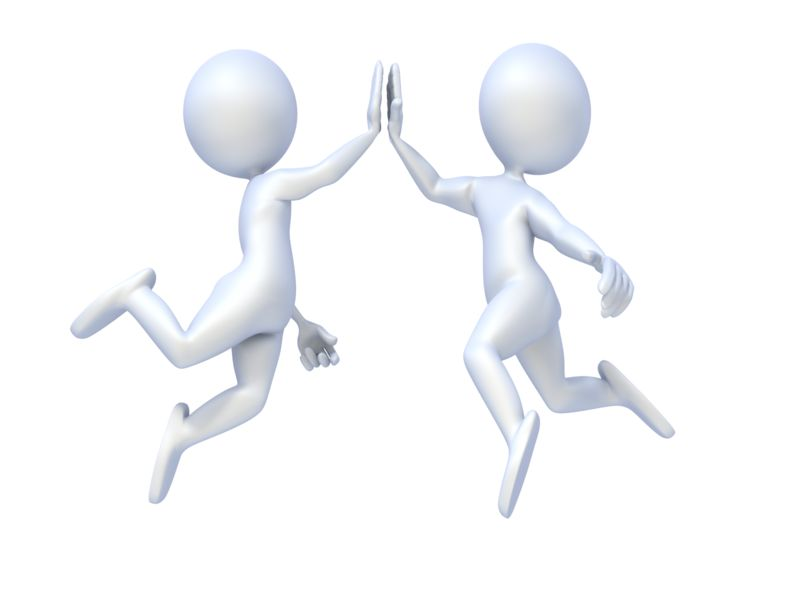 Clipart - Figures Give High Five