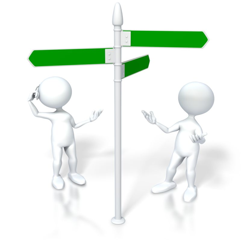 Clipart - Figures Look Direction Sign