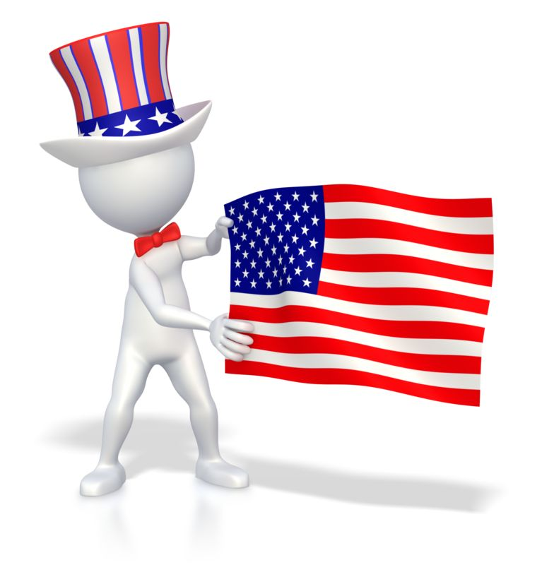 Clipart - Stick Figure Holding American Flag