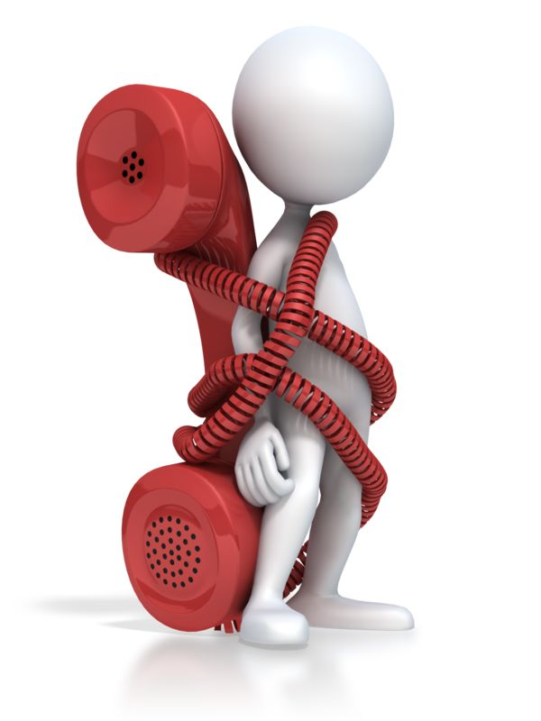 Clipart - Figure Tied To Phone