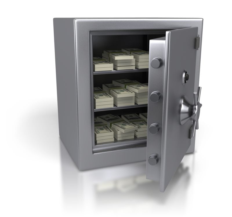 Clipart - Steel Safe Containing Cash Dollars