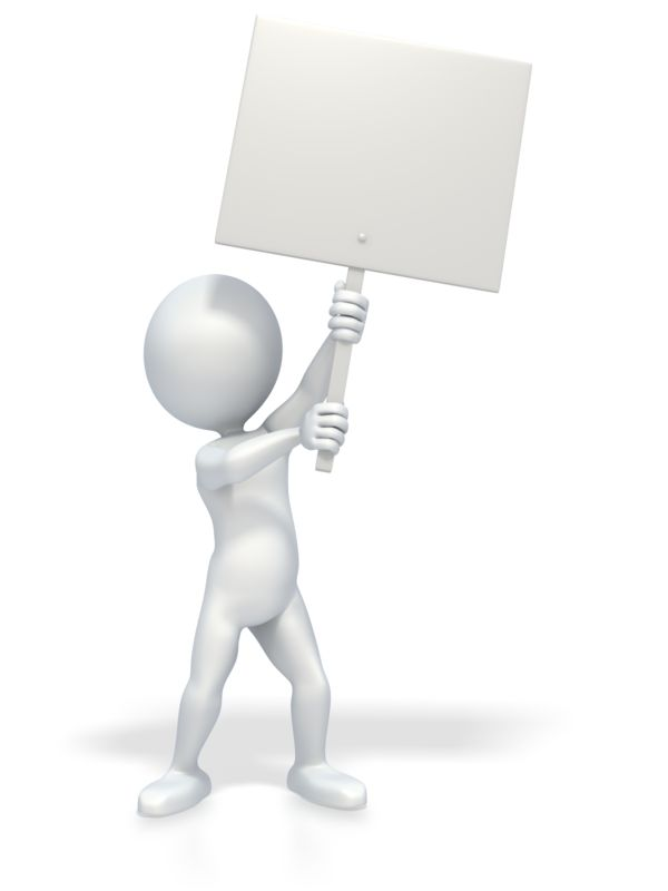 Clipart - 3D Stick Figure Holding Picket Sign