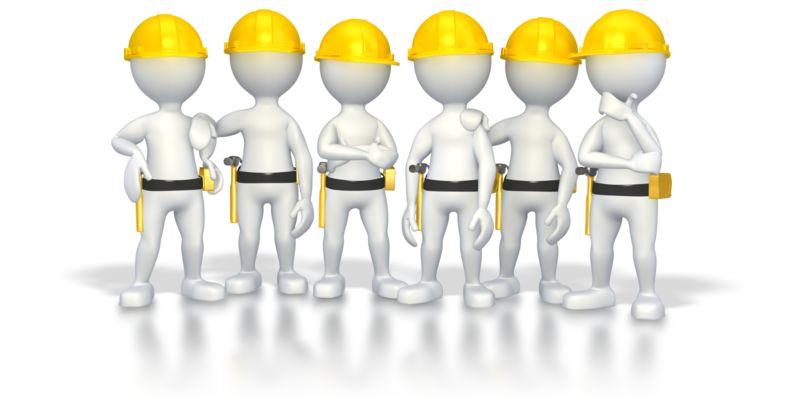 Clipart - Stick Figure Construction Group