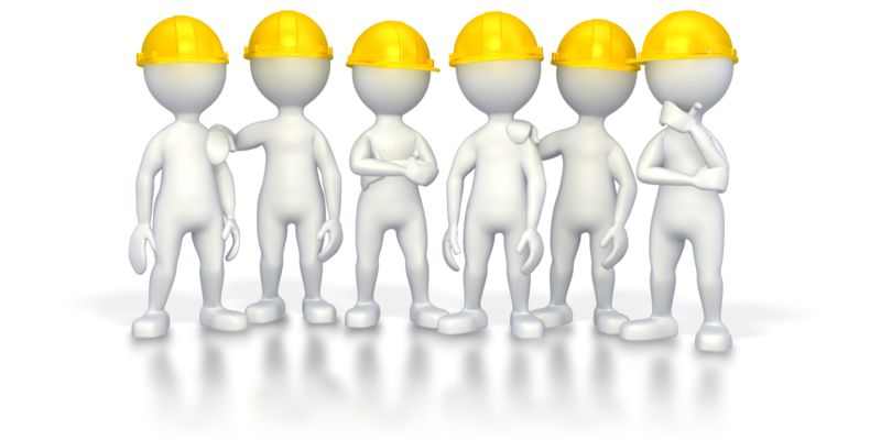 Clipart - Workers with Hard Hats