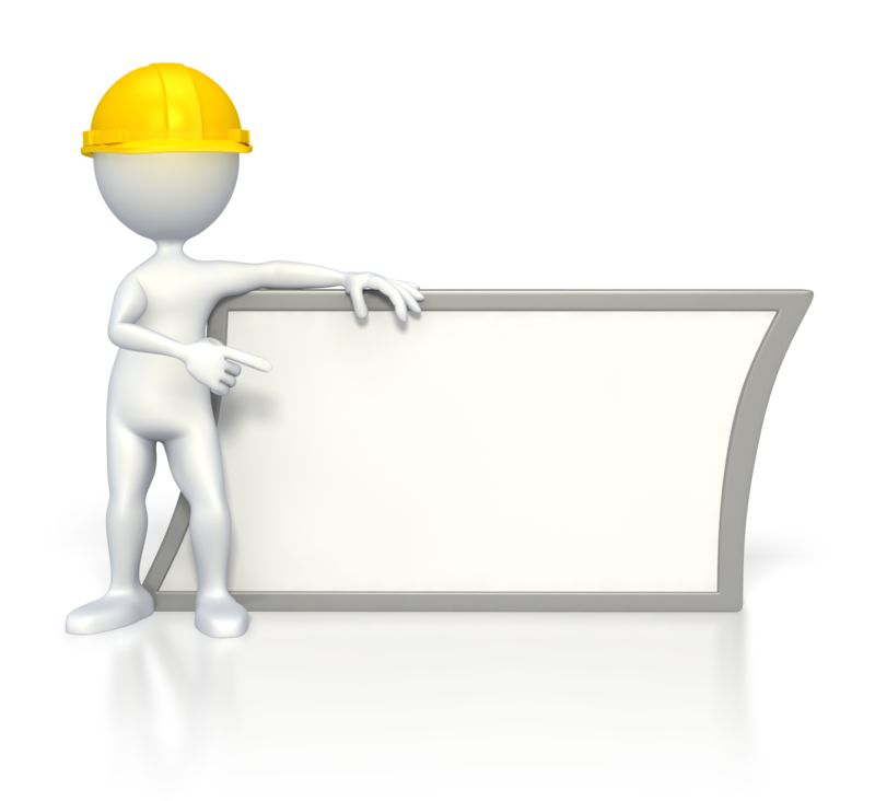 Clipart - Worker Pointing at Sign