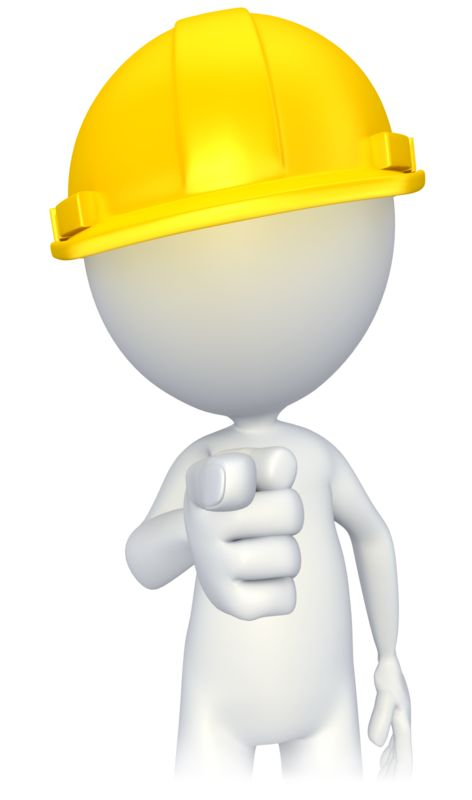 Clipart - Figure with Hard Hat Pointing