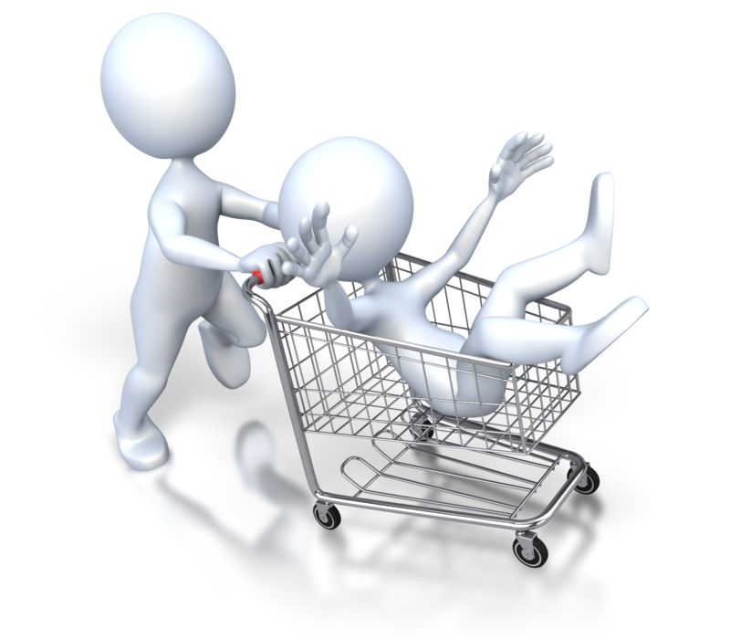 Clipart - Stick Figure Pushing Guy Shopping Cart