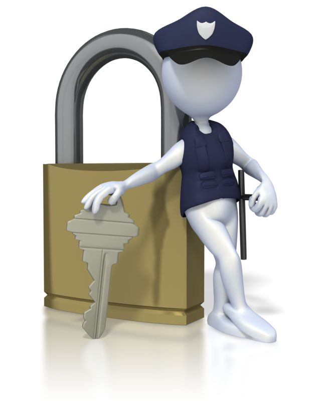 Clipart - Security Lock Stick Figure