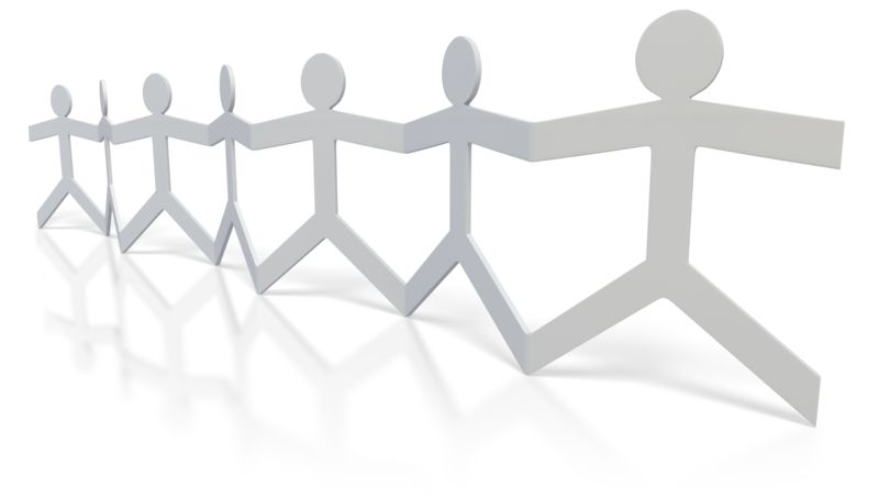 Clipart - Paper Figures Hold Hands
