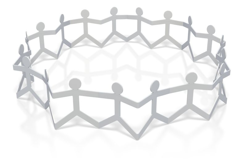 Clipart - Paper Figures Hold Hands Circle
