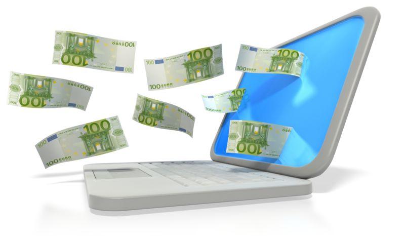 Clipart - Money Through Laptop Euro