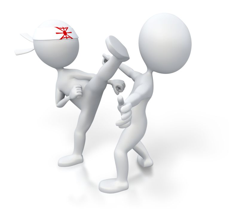 Clipart - Martial Arts Kick Opponent