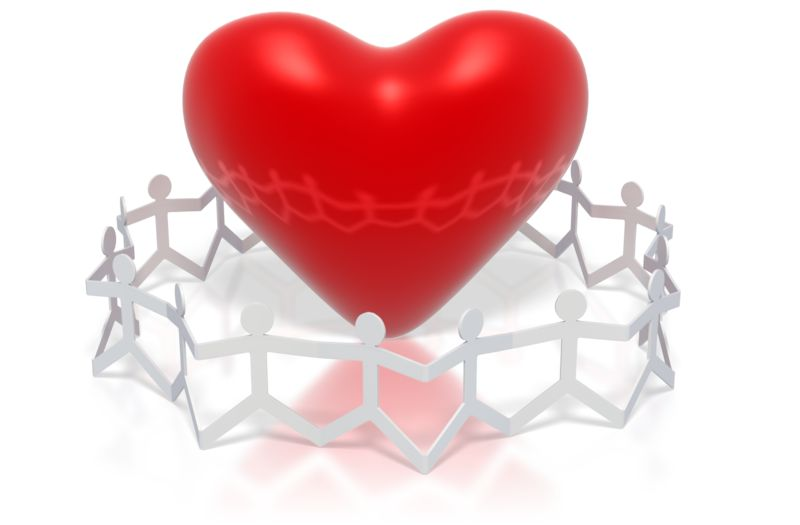 Clipart - Paper Figures Hold Hands Circle Heart