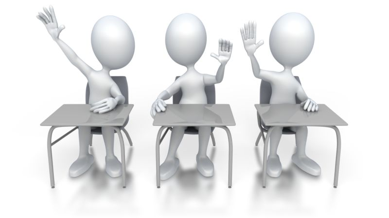 Clipart - Students Raising Hands in Class
