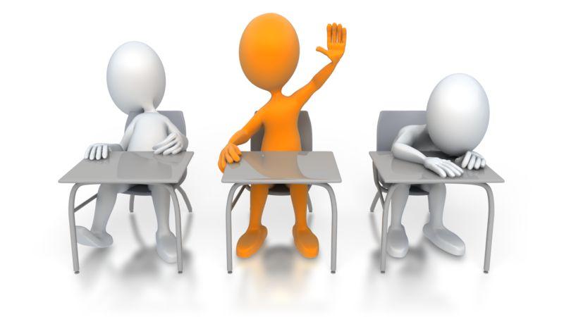 Clipart - Single Student Raises Hand
