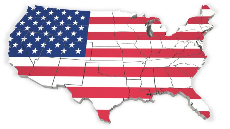Clipart - United States Map With Flag