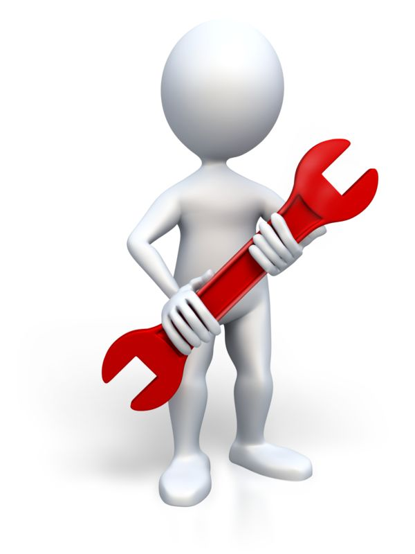 Clipart - Stick Figure Holding Wrench