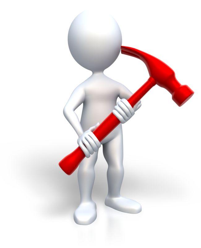 Clipart - Stick Figure Holding Hammer