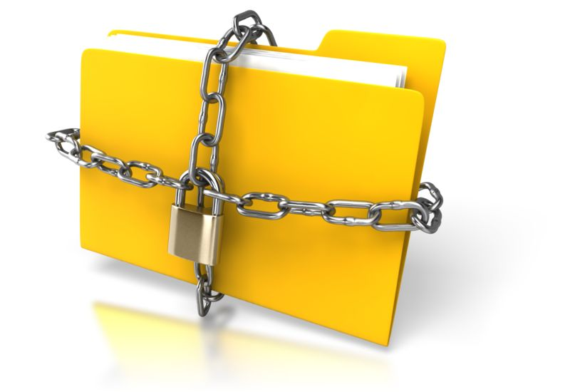Clipart - Yellow Folder Chained Up