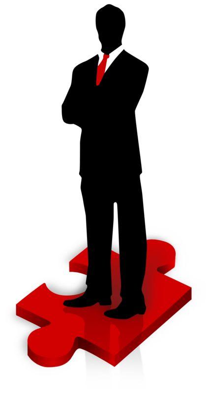 Clipart - Businessman Stand Puzzle Piece