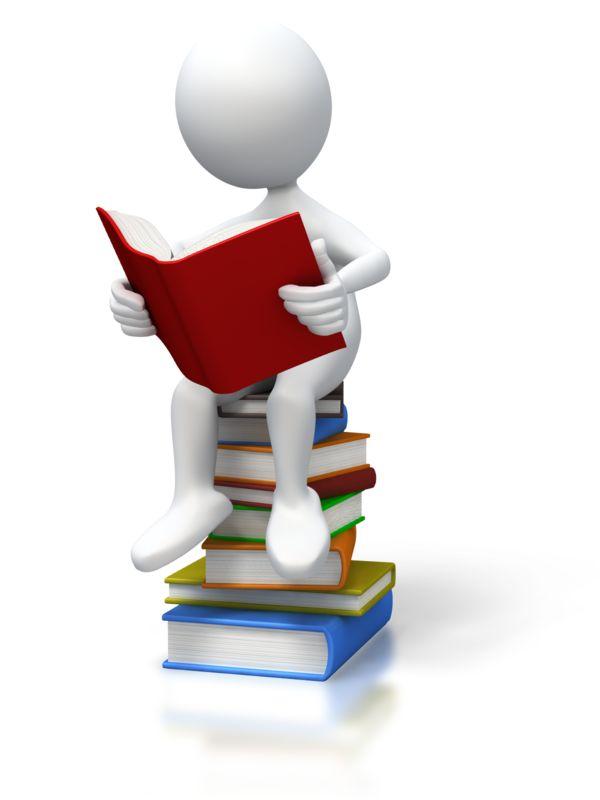 Clipart - Stick Figure Sitting On Books