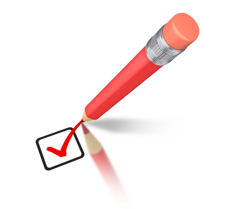 Clipart - Pencil Drawing Red Check Mark