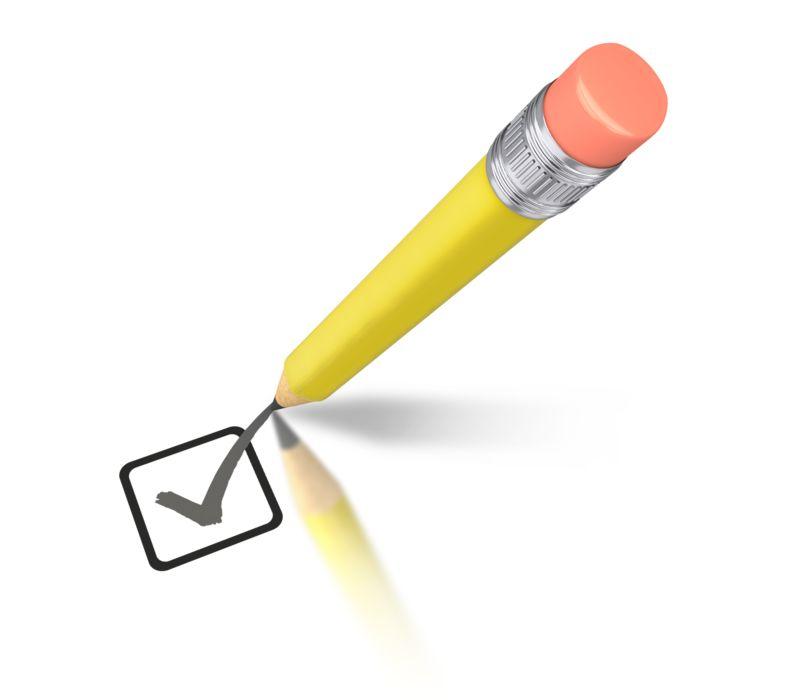 Clipart - Yellow Pencil Drawing Check Mark